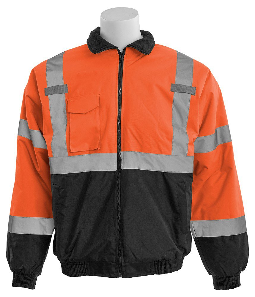 ERB 63958 W105 Aware Wear Class 3 Economy Bomber Jacket, Orange/Black, 4X-Large by ERB (Image #1)