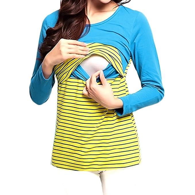 76fa623b2 Mujer Enfermería Tops Amamantamiento Maternidad T-Shirt Doble Capas Parte  Superior Largo Manga Camisa El Embarazo Tops A Rayas Sweatshirt Jersey lago  azul ...