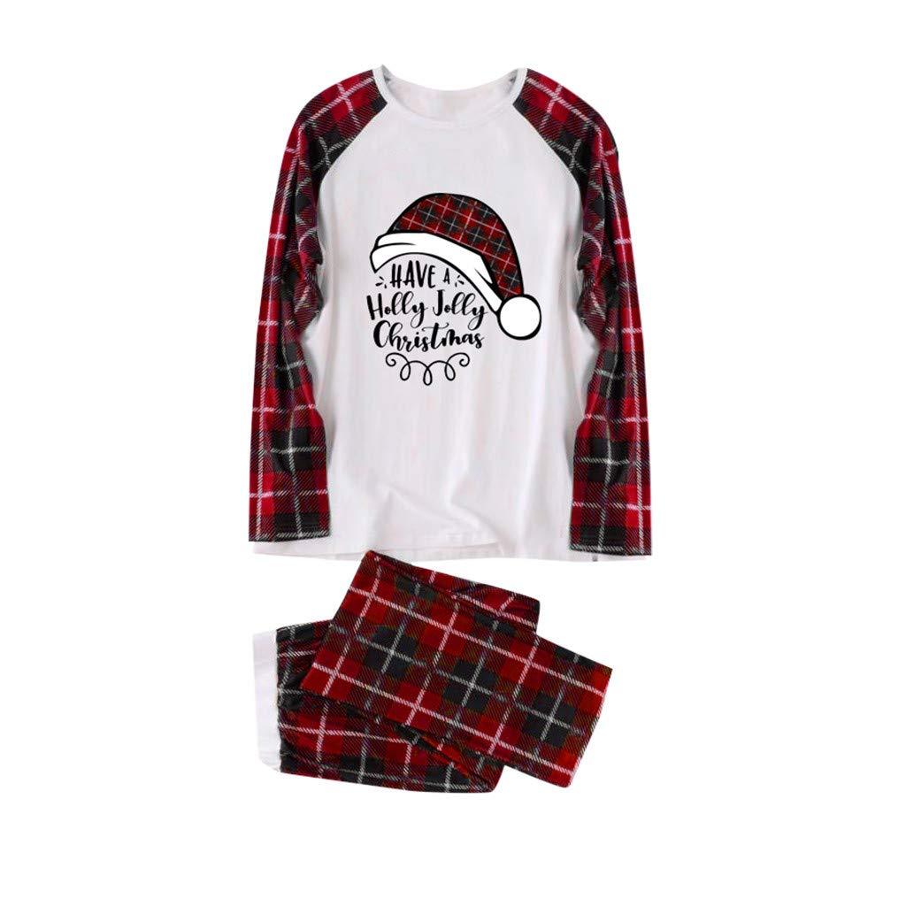 Famiglia Pigiami Natale Bambina Donna Pigiama Uomo Ragazze Ragazzo Costume di Natale Camicie da Notte Tuta per Servizio a Domicilio con Pantaloni a Quadretti da Babbo Natale