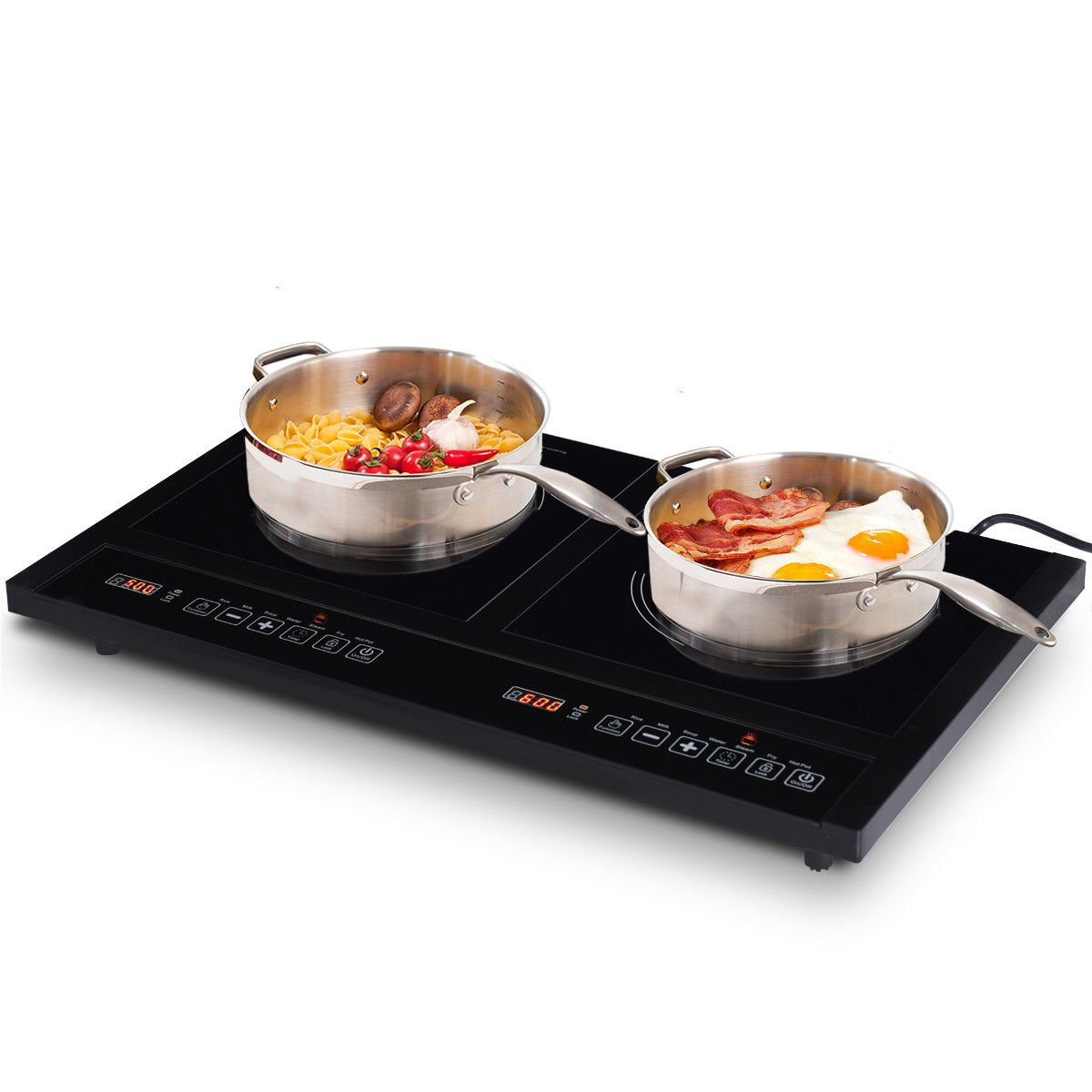 Costway 1800W Double Induction Cooktop Portable Electric Dual Hot Plate Countertop Burner w/ Digital Display