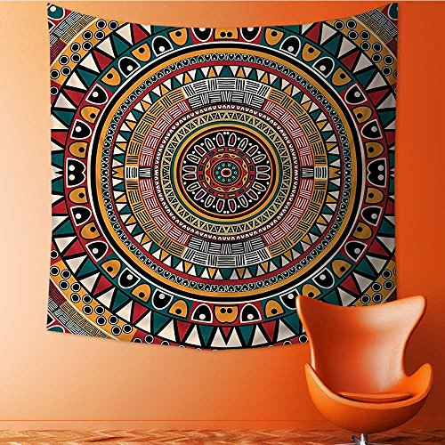 Wall Hanging Tapestries Tribal Folkloric Tribe Round with Colors Aztec Art Jade Ruby and Mustard Bedroom Living Room Dorm Decor39W x 39L Inch