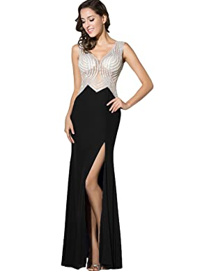 Belle House Women's Black Prom Dress See Throgh Back Crystal Beaded Party Ball Gown