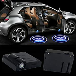 Kess LED Car Door Logo Light for Mazda Ghost Shadow Courtesy Projector Welcome Lamp,2Pcs Wireless Universal Door Logo Ghost Projector