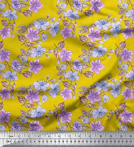 Soimoi Yellow Cotton Cambric Fabric Leaves & Buttercup Floral Print Fabric by Yard 42 Inch Wide]()