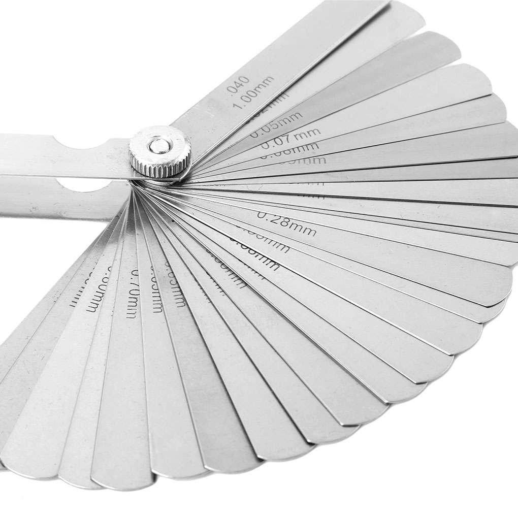 MUANI 32 Cuchillas de Acero Inoxidable Conjunto galga de espesores 0.02-1.0mm mé trica para hendiduras Gauge Measurment