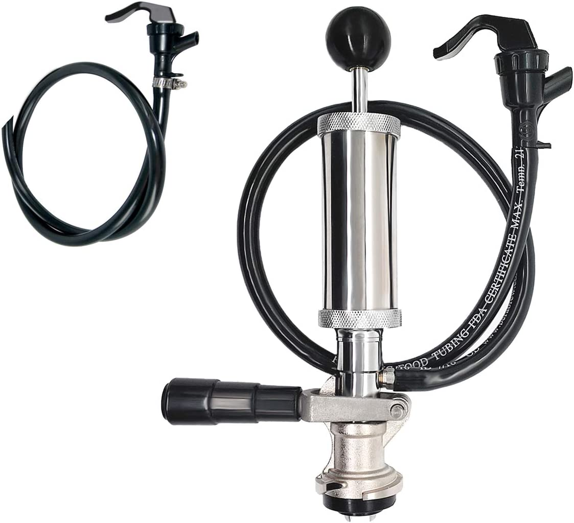 PERA Beer Party Pump Picnic Keg Tap, D System Beer Keg Pump 4 inch Size, with Extra Picnic Beer Line for Homebrewing