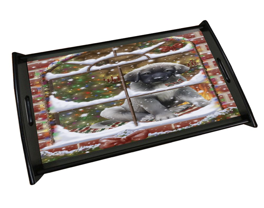 Please Come Home For Christmas Anatolian Shepherds Sitting In Window Black Wood Serving Tray