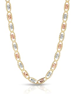 Amazon Com Mcs Jewelry 14 Karat Three Tone Yellow Gold White Gold Rose Gold Necklace 2 75mm 16 Jewelry