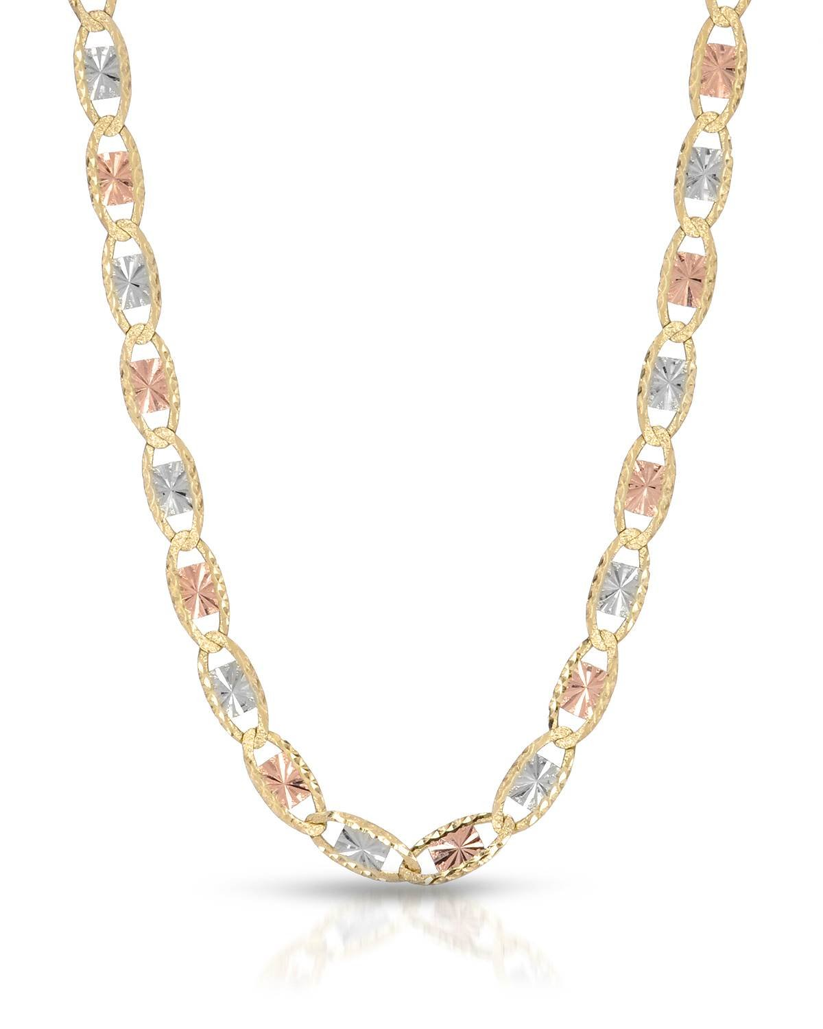 MCS Jewelry 10 Karat Three Tone Yellow Gold/White Gold/Rose Gold Necklace 3MM Width (16''-24'') (20)