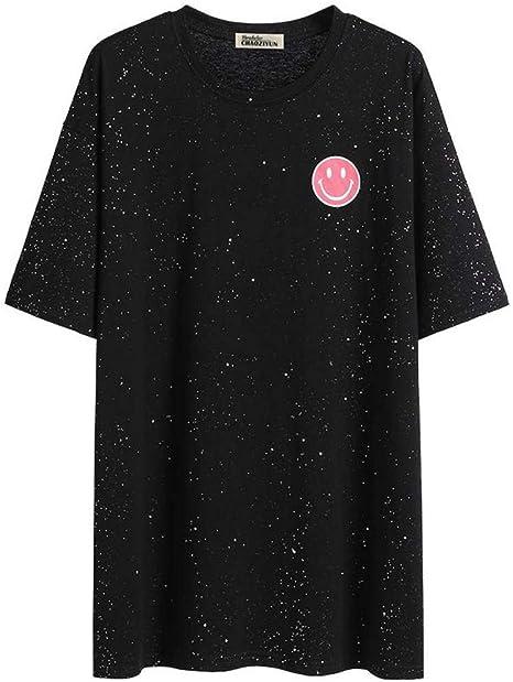 O&YQ Camiseta de Tendencia Femenina de Manga Larga Negra con Cuello Redondo Y Top Suelto, Negro, s: Amazon.es: Deportes y aire libre