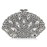 Milisente Women Evening Bag Gillter Diamond Crystal Shell Clutch Purse Bag (Silver)