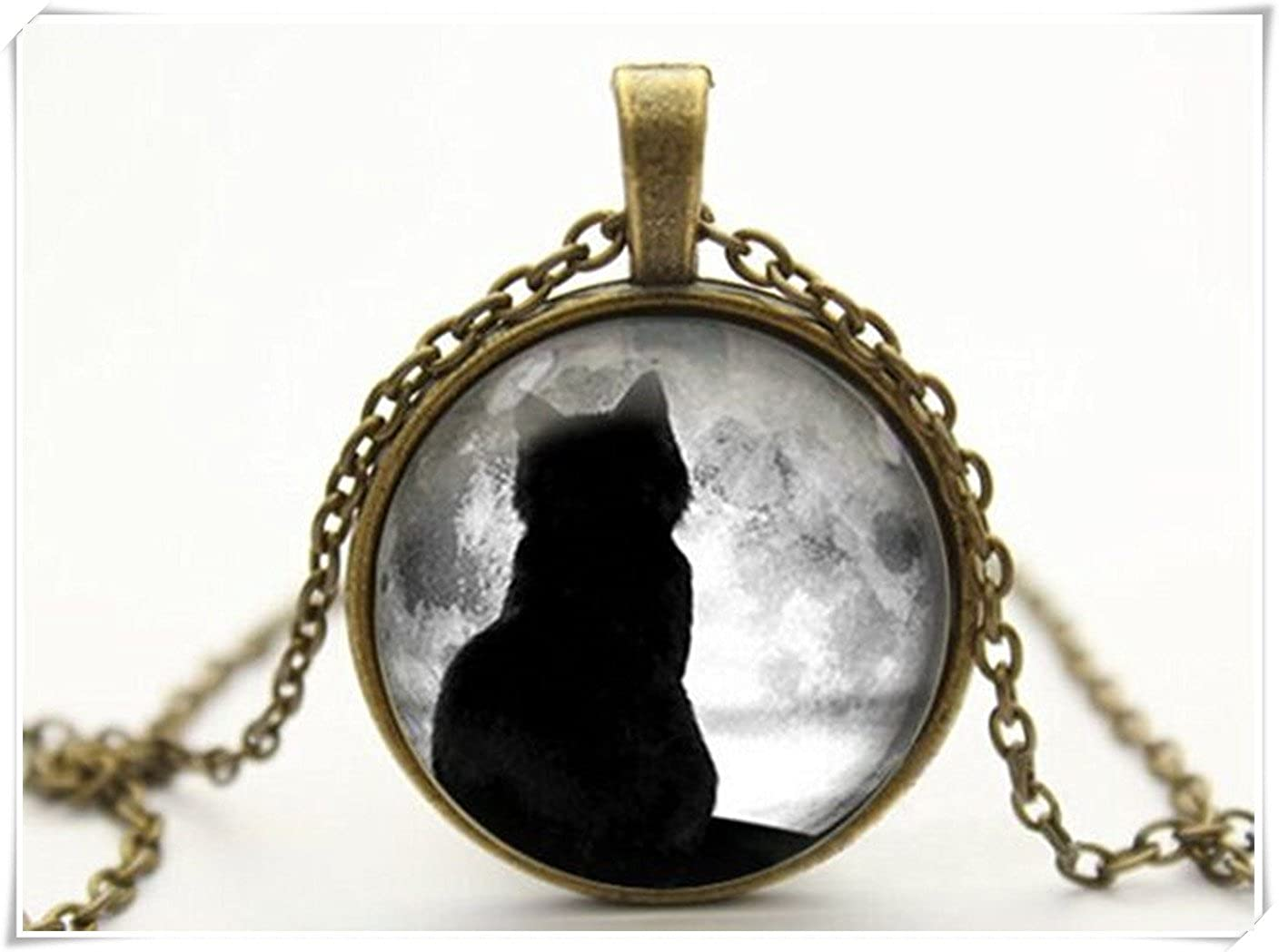 with free jewelry box Hand-make cat necklace full moon necklace moon necklace pendant