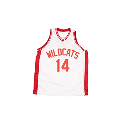 Zac E Troy Bolton 14 East High School Wildcats White Patch Basketball Jersey at Men's Clothing store