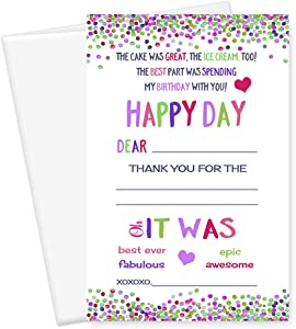 Kids Birthday Thank You Cards and Envelopes (15 Pack) Fill-In Blank Design Fun Pink Lilac and Lime
