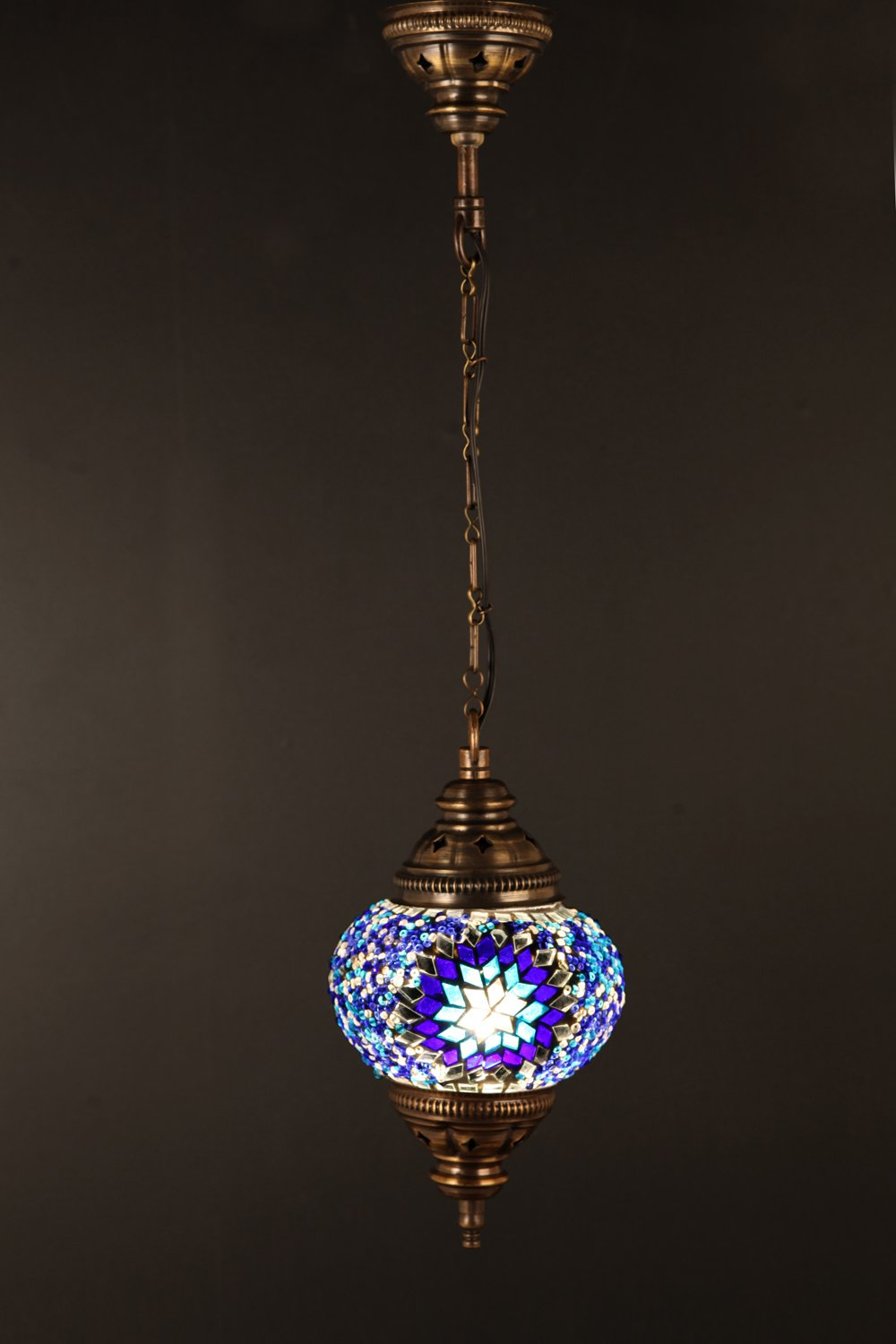 (Height: 7.9 in) Mosaic Chandelier Set 1 Single Globe, Handmade Authentic Tiffany Lighting Moroccan Lamp Glass Stunning Bedside Night Lights Brass&Glass Ottoman Turkish Style