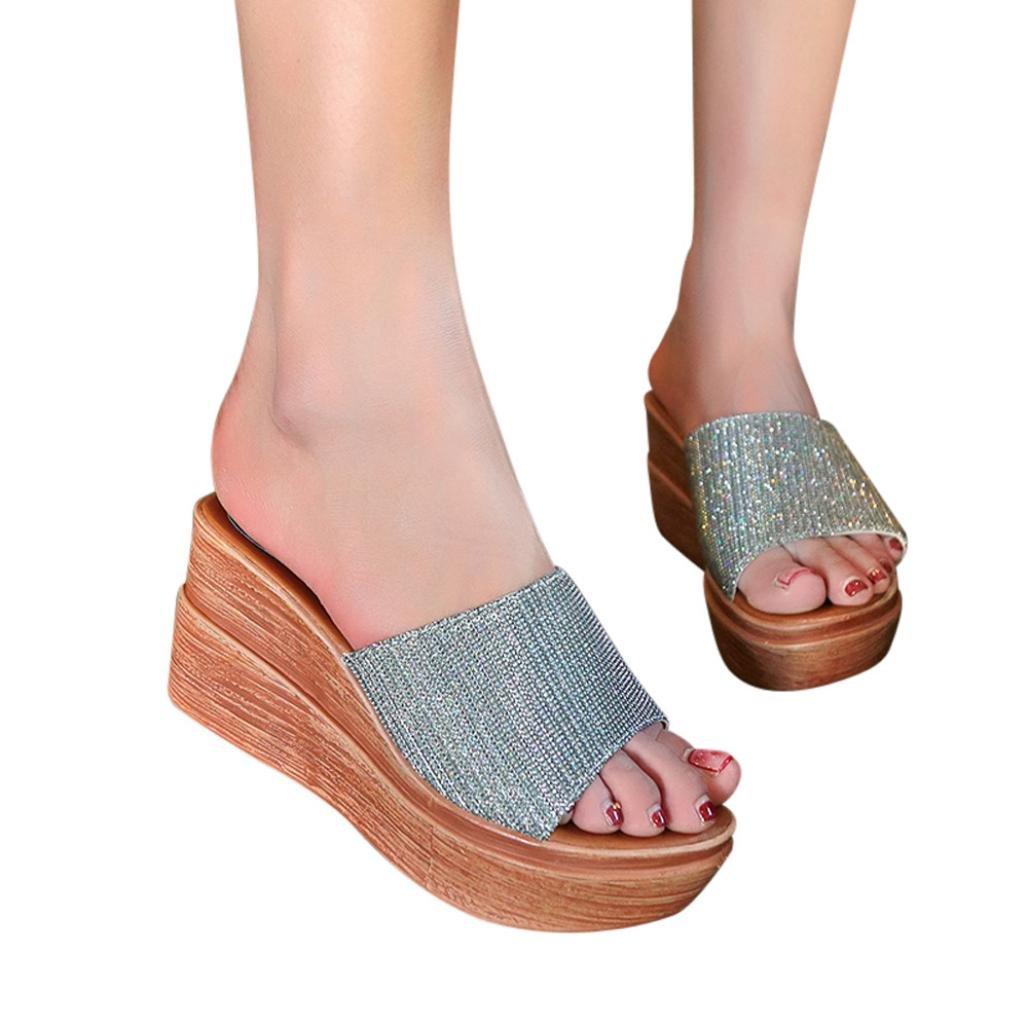 Sunbona Women Summer Slippers L;Adies Solid Sequins Open Toe Anti-Slip High Platform Wedge Sandals (US:6(RU/EU/CN36), Silver)