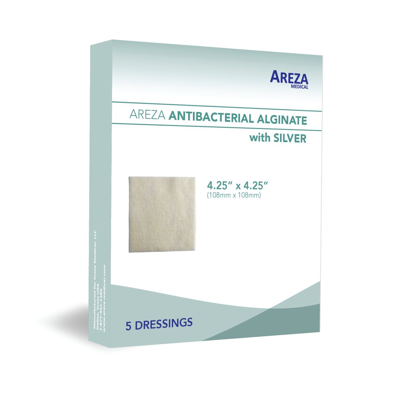 Silver Alginate (Antibacterial Alginate with Silver) 4.25''x4.25'' Sterile; 5 Wound Dressings Per Box (1) (4.25'' X 4.25'') (1) Areza Medical by Areza Medical