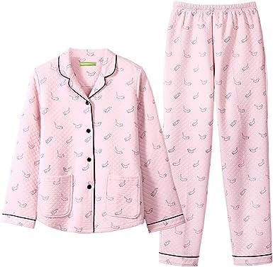 Pijama Pijamas De Otoño E Invierno De Mujer De Algodón, Pequeños Y Frescos, Pijamas De Manga Larga con Pijamas Caseros Casuales Pijama de Mujer: Amazon.es: Ropa y accesorios
