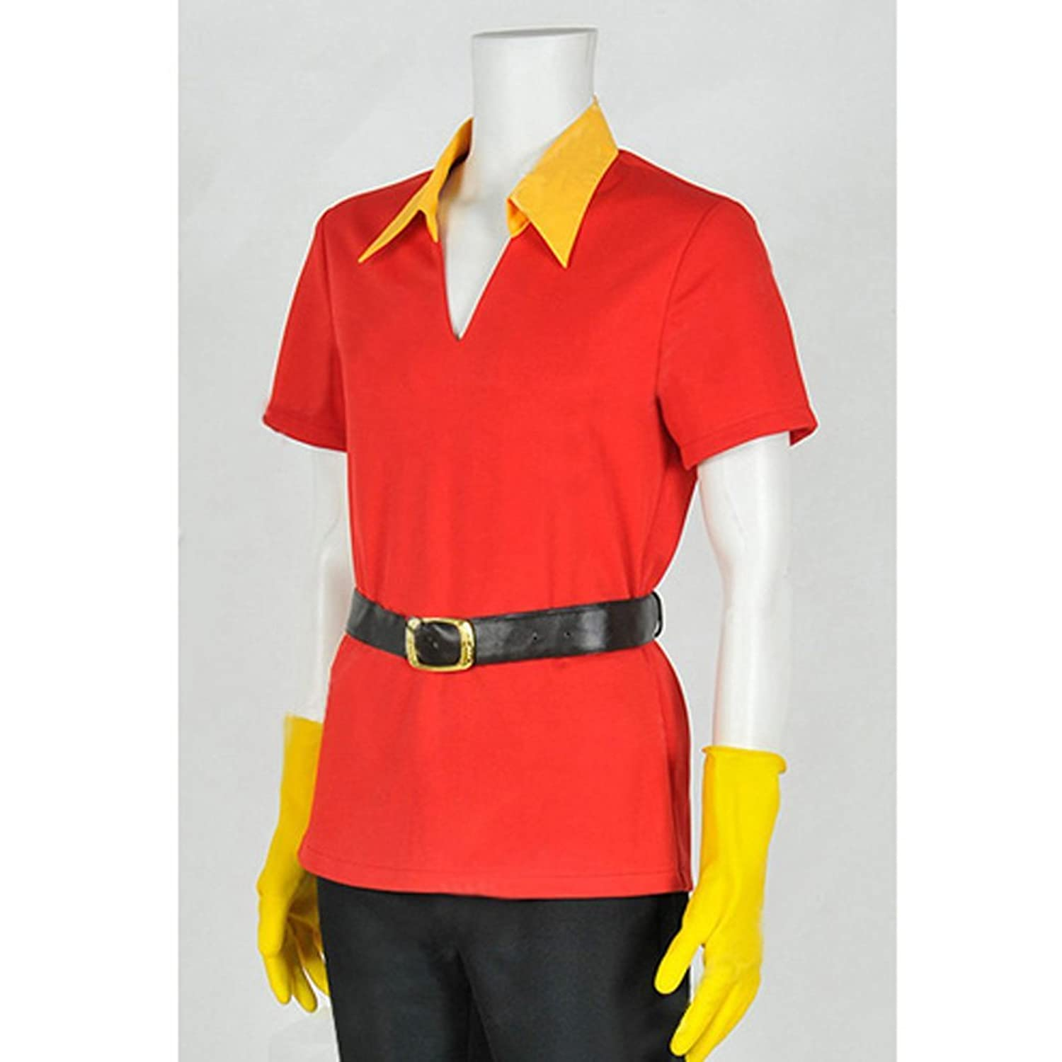 Amazon.com: Cuterole Adult Gaston Costume Red Cosplay Shirt with Gloves &  Belt Custom in You Size: Clothing