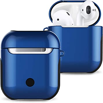 Airpods Case Cover Skin Romozi Airpod Case with Lanyard Ultral Hybrid Design Red Air Pods Case is Silicone and Hard Cover Dual Layer Protection Airpod Skins for Apple Airpods Accessories