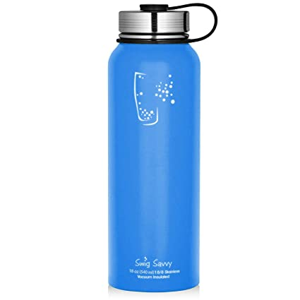 7a34ceb92c SWIG SAVVY 18 Oz Stainless Steel Vacuum Insulated Wide Mouth Water Bottle  with Leak Proof Cap | Thermos Keeps Cold for 24 Hours, Hot for 12 Hours |  Double ...