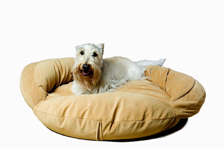 CPC Velvet Microfiber 35-Inch Bolster Bed, Caramel