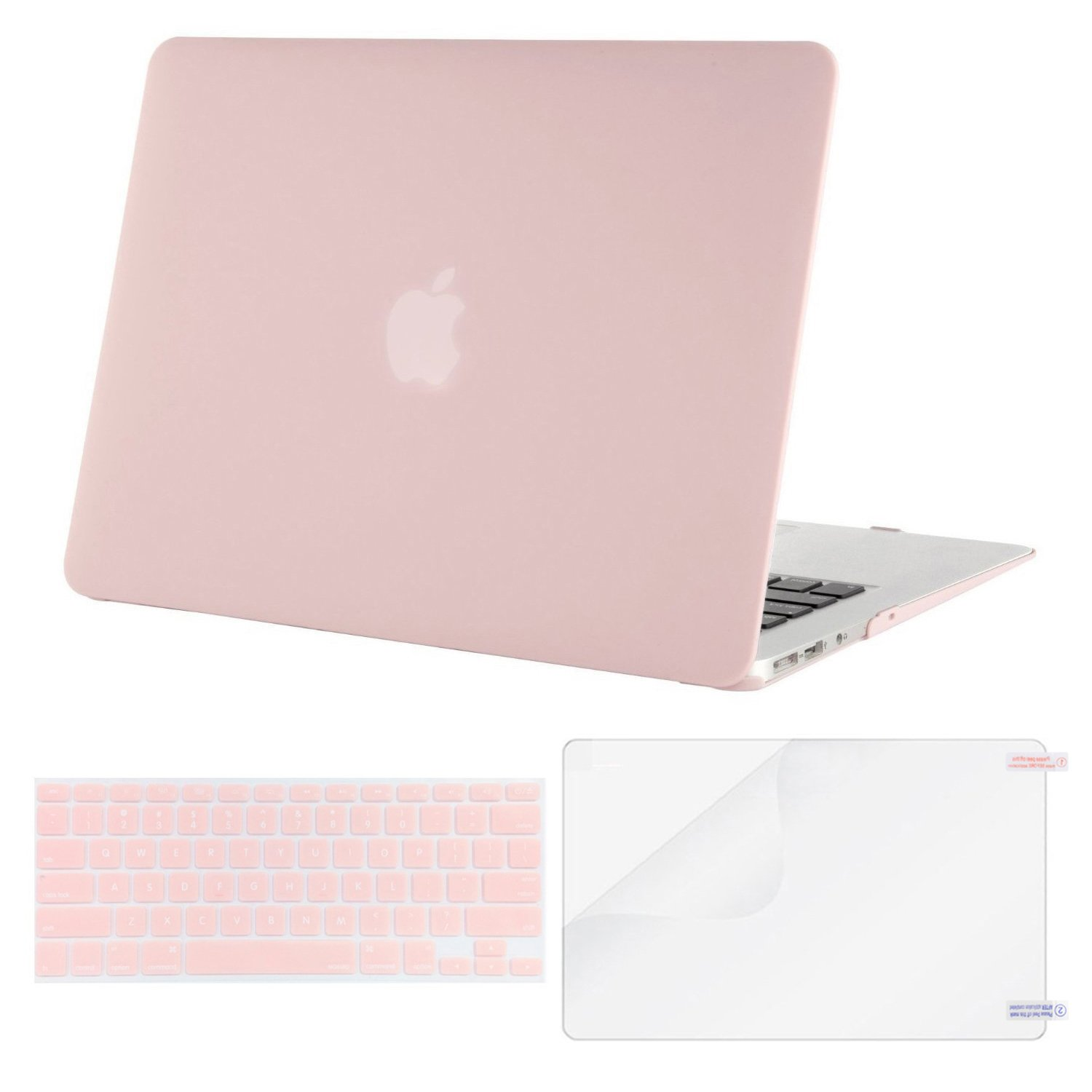 Mosiso Plastic Hard Shell Case with Keyboard Cover with Screen Protector for MacBook Air 11 Inch (Models: A1370 and A1465), Rose Quartz