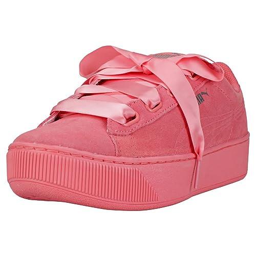Puma Vikky Platform Ribbon S Donna Dark Pink Scarpe da Ginnastica 8 UK