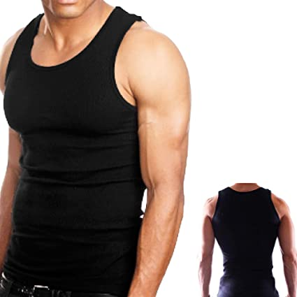 d77cd89e762ce1 Amazon.com  3Pc 100% Premium Cotton Mens A-Shirt Ribbed Tank Top Black M  Sports Gym Clothing  Sports   Outdoors
