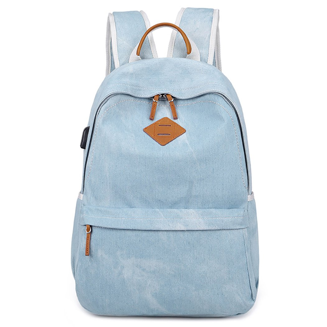 Coafit Girls School Bag Denim Backpack USB Charging Port Casual Backpack for Students