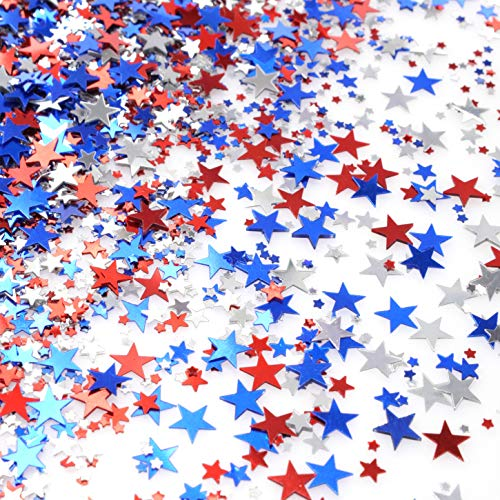 Red Blue White Twinkle Stars Table Confetti 4th of July Independence National Day American Theme Presidents Birthday Patriotic Party Foil Sequins Sprinkles Confetti Decorations, 60g -