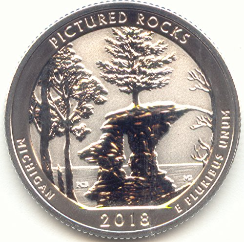 2018 S America the Beautiful Pictured Rocks National Lakeshore in Michigan Silver Washington Quarter Reverse Proof US Mint