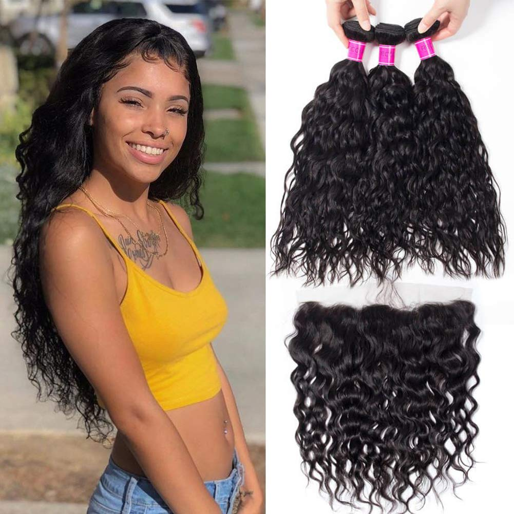 RECOOL Wet and Wavy Human Hair with Closure Ear to Ear 10A Brazilian Hair Water Wave Bundles and Frontal Closure for Sale Natural Color Real Good Quality Hair (16 18 20+14)