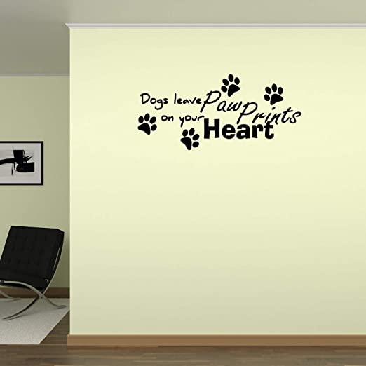 Dogs Leave Paw Prints On Your Heart Vinyl Wall Art Decals Sticker Home Kitchen