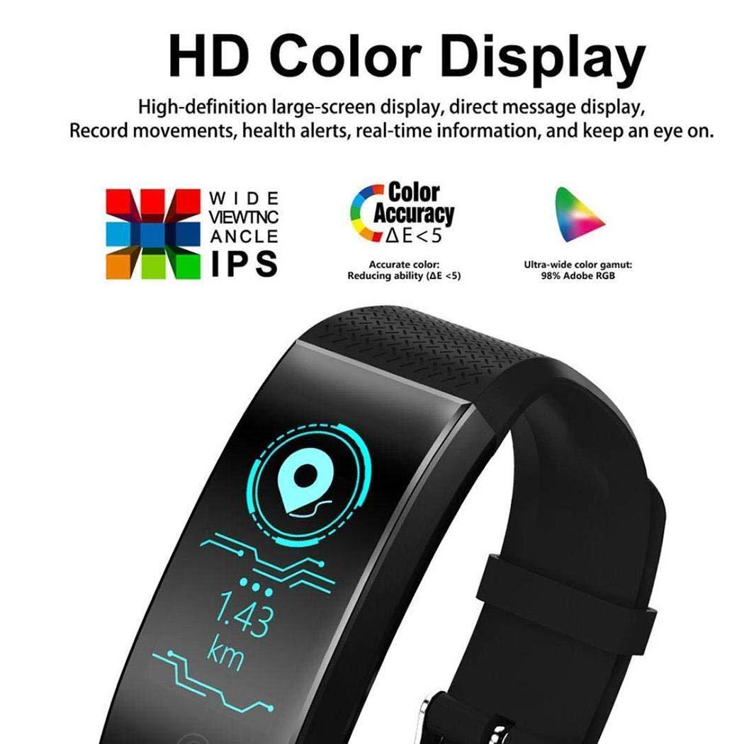 melysEU Intelligente Orologio Sportivo Fitness Activity Tracker frequenza cardiaca Orologio Bracciale Anello di Collegamento (Blu)