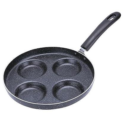 Cookware Sartén Antiadherente De Cuatro Agujeros Para Sartenes De Pan 24CM,Black