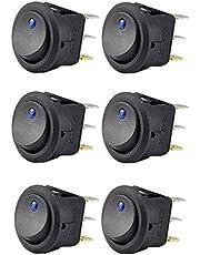 Reusious 6pc 12V 20A Coche Camión redondo Rocker Conmutador LED Interruptor Azul Luz SPST On-off Control