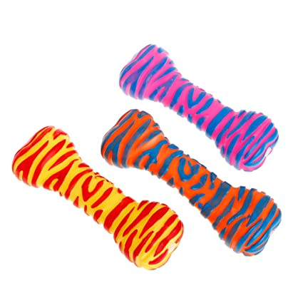 Home & Garden Dog Toys Pet Toys Rubber Bone Shape Stripe Colorful Squeaky Sound Dog Puppy Cat Play Interactive Bite Chew Soft Non Toxic Teeth Clean Toy