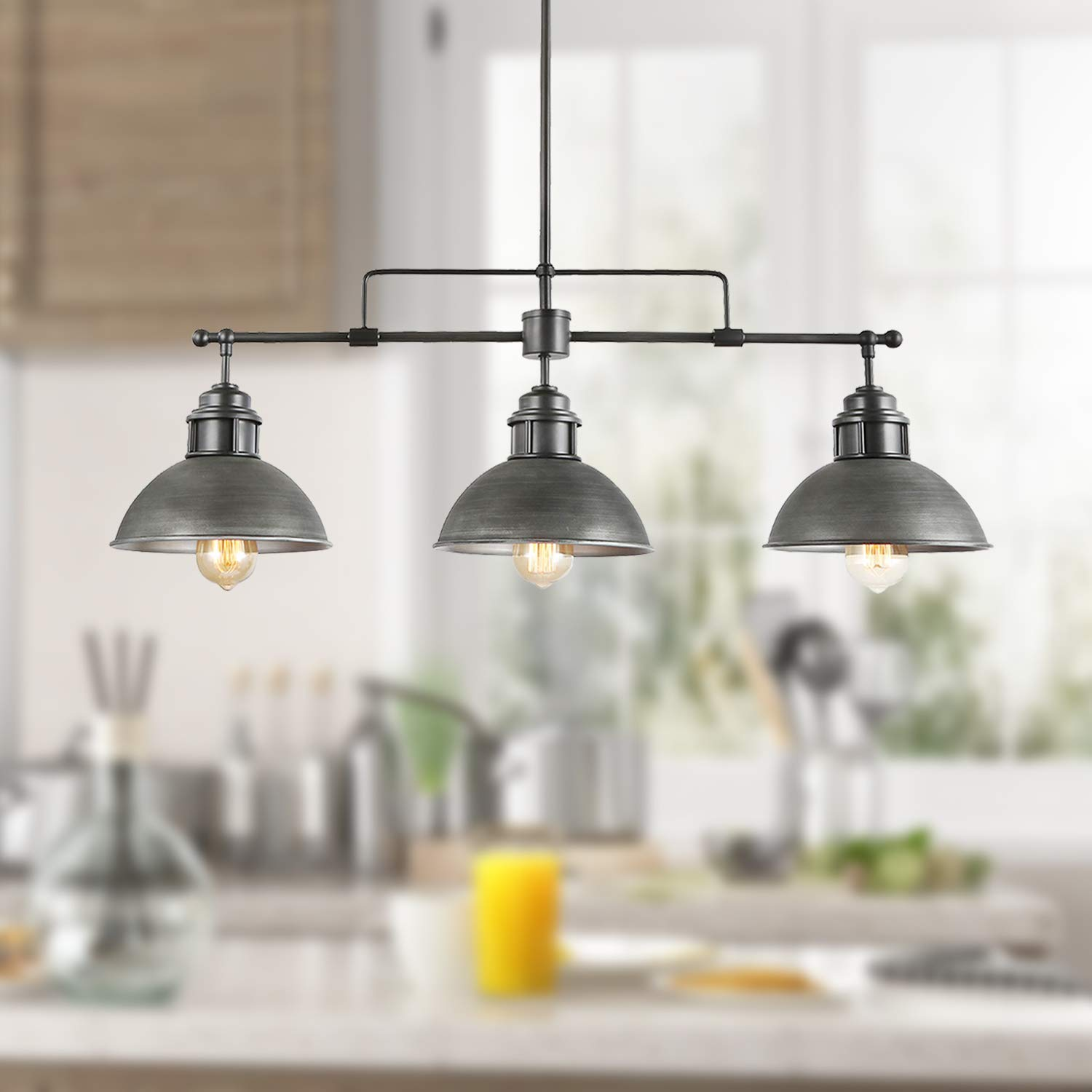 "LOG BARN 3 Lights Industrial Kitchen Pendant Linear Chandelier in Brushed Antique Silver Metal Finish, 35.7"" Large Island Lighting Fixture, A03255"