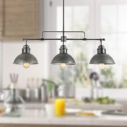 Log Barn 3 Lights Industrial Kitchen Pendant Linear Chandelier In
