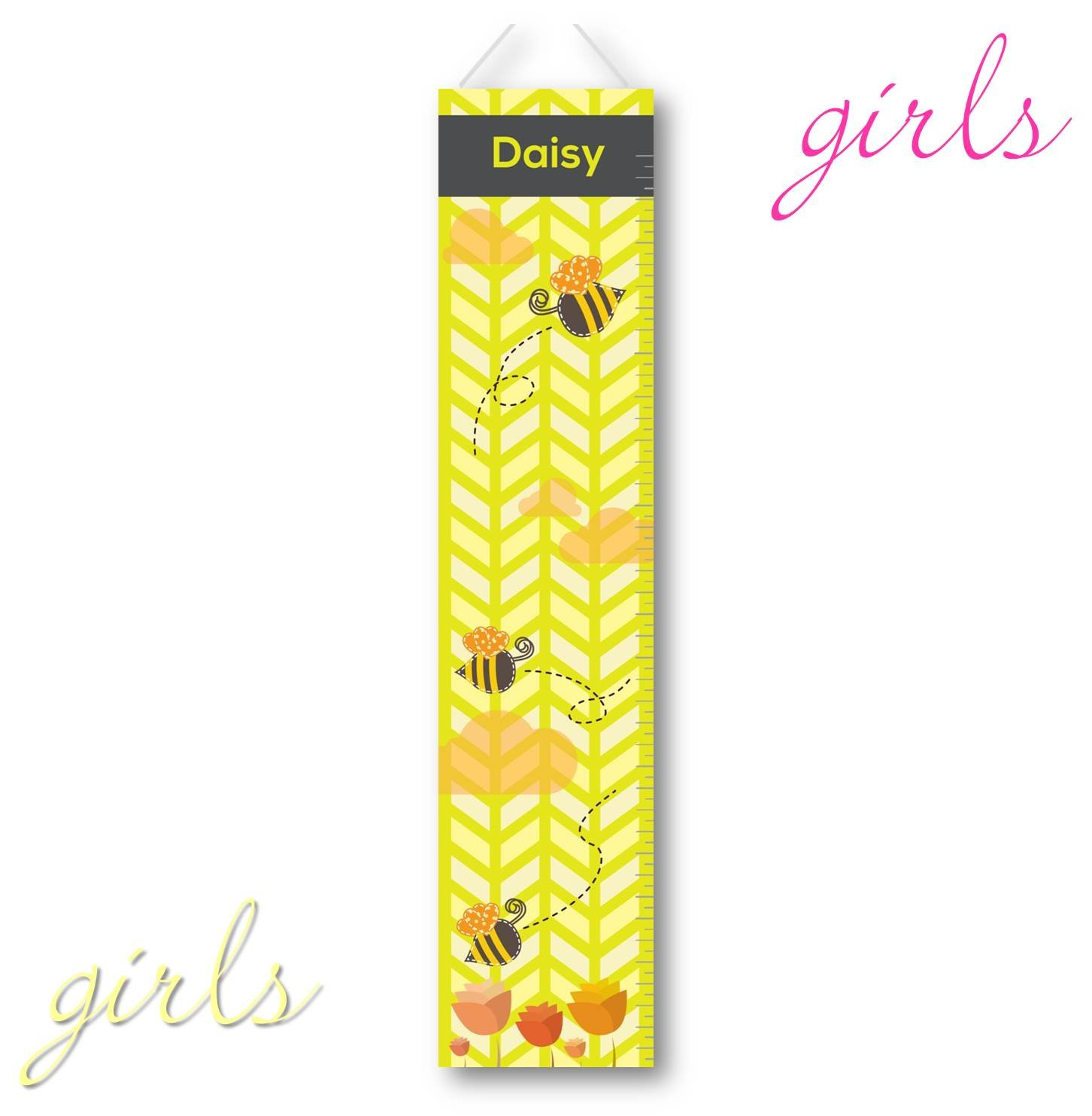Personalized KidsキャンバスGrowth Chart – カスタマイズ高さチャート – Honey Bees   B01M3R8XPH