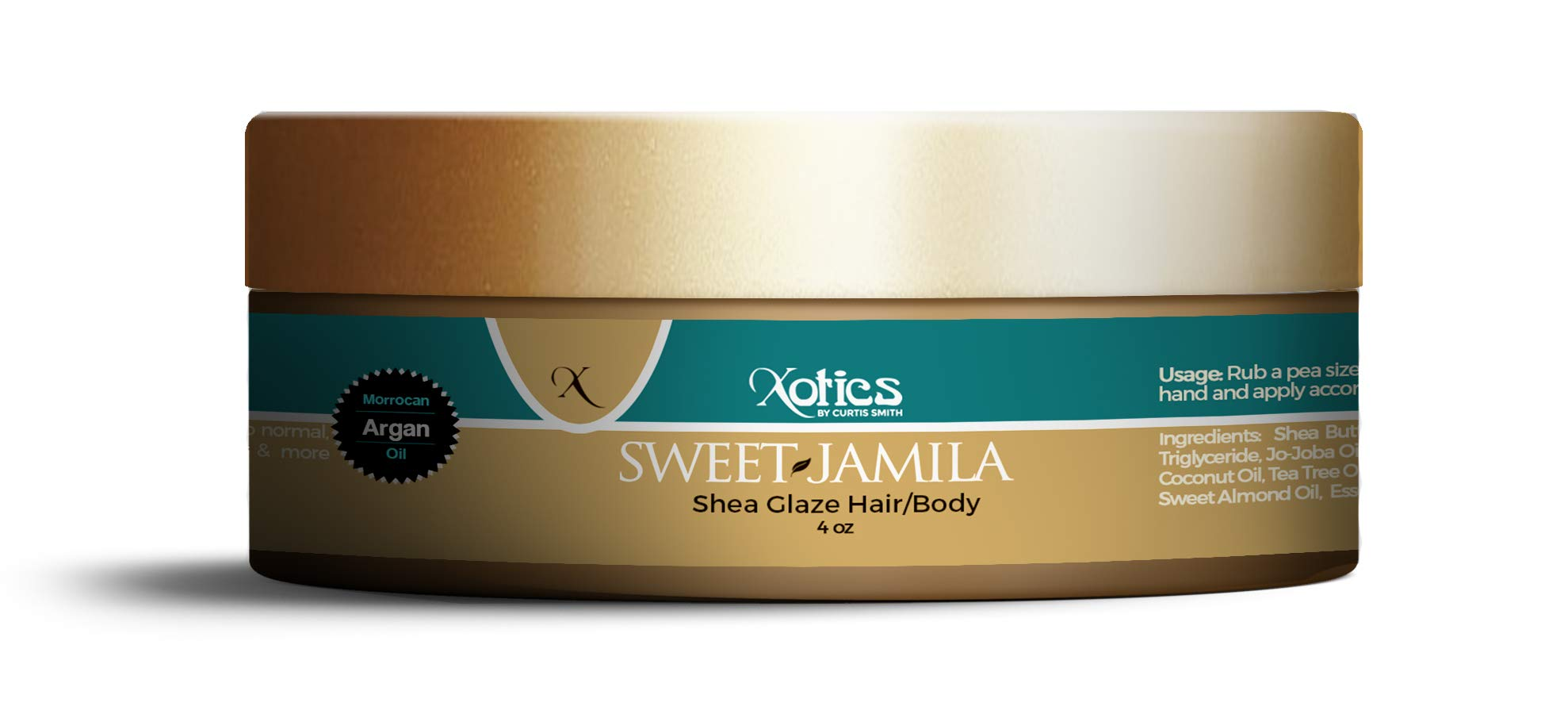 Xotics by Curtis Smith Sweet Jamila Hair & Body Shea Glaze - 4 oz | Professionally Formulated Shea Butter & Essential Oil Fusion | Nourish, Protect & Support Healthy Hair and Skin by Xotics