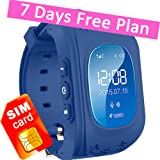 Kids GPS Tracker Smart Watch Phone Children Wrist Bracelet with SIM Card SOS Anti-lost Finder Parent Control on Universal Smartphone 7Days Plan Included (Navy Blue)