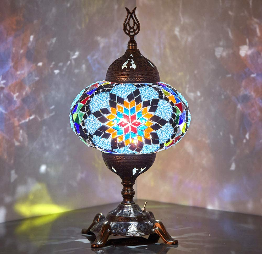 (15 Colors) Battery Operated Mosaic Table Lamp with Built-in LED Bulb, Turkish Moroccan Handmade Mosaic Table Desk Bedside Mood Accent Night Lamp Light Lampshade with LED Bulb,No Cord (Gypsy)