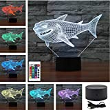 Mini Remote Fierce White Shark Marine Animals Acrylic Touch Table Lights Home Decor Child's 3D Visual USB LED Desk Lamps IR238