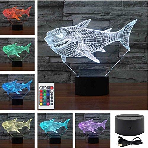 Mini Remote Fierce White Shark Marine Animals Acrylic Touch Table Lights Home Decor Child's 3D Visual USB LED Desk Lamps IR238 by AUCD