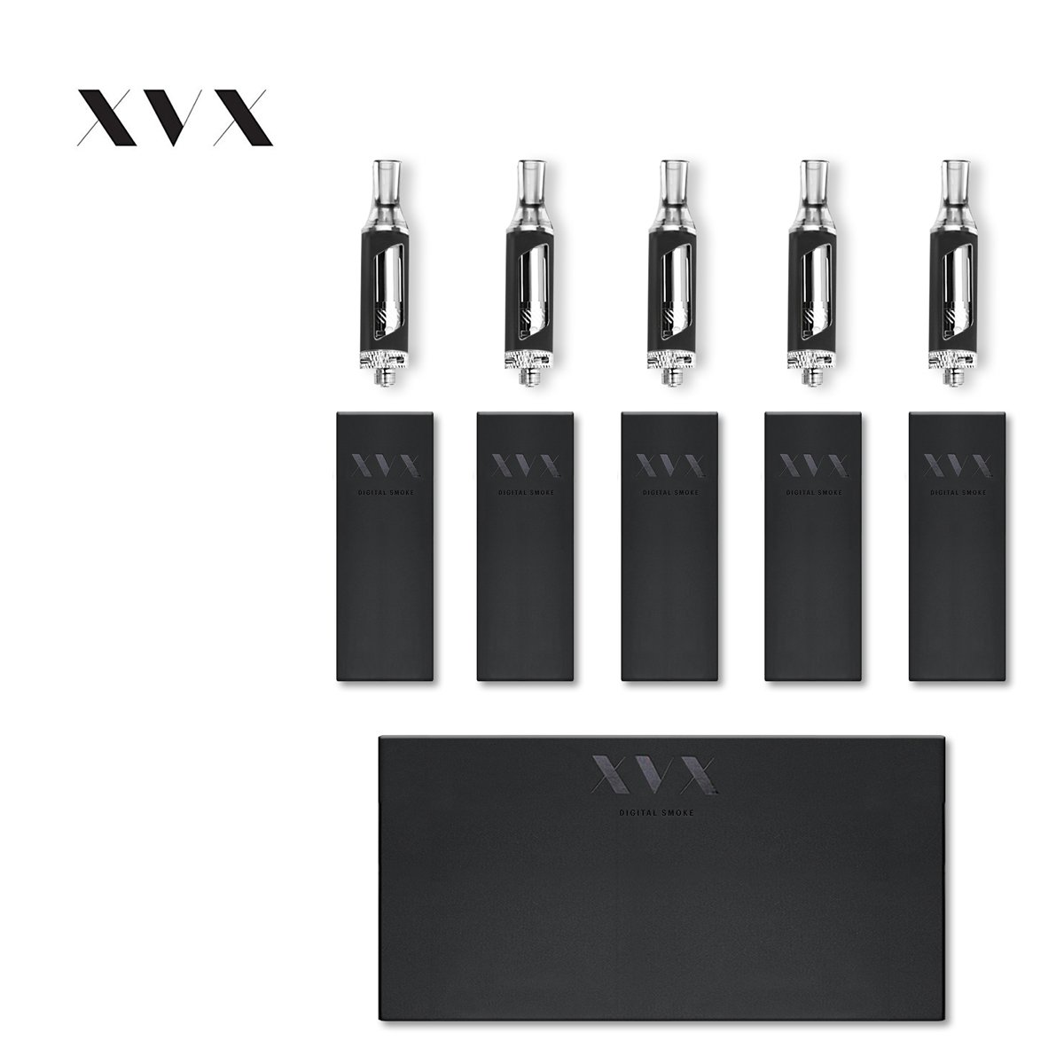 E Cigarettes Refillable Sub Ohm 1 8ml Clearomizer Atomiser Tank XVX Tank  for APEX \ X Edition \ 5 Pack \ 0 5 Ohm Dual Coil \ Electronic Shisha Vape