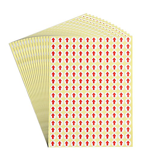 dealzEpic - Red Round Arrow Dot Stickers - Self Adhesive Peel and Stick Label | Products Inspection Defect Indicator - Pack of 15 Sheets Red Arrows Self Adhesive