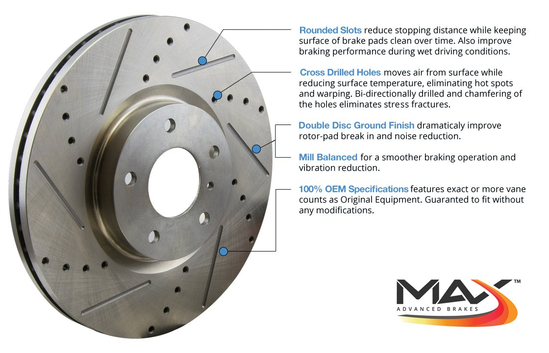 Max KT033633 Front + Rear Premium Slotted & Drilled Rotors and Ceramic Pads Combo Brake Kit by Max Advanced Brakes (Image #2)