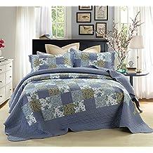 DaDa Bedding 3 Piece Plaid Floral Purple Blueberry Patch Reversible Bedspread Quilt Set, Queen